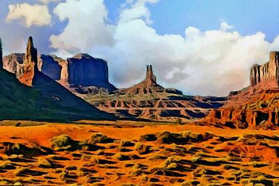 Eco-tourism Painting - Monument Valley Painting by Bob and Nadine Johnston