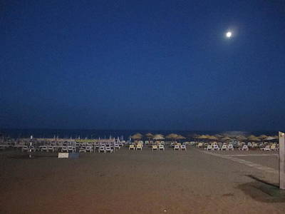 Photograph - Moon Lit Beach At Costa Del Sol Spain by John Shiron