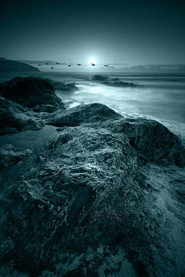 Moonlit Beach Art Print by Jaroslaw Grudzinski