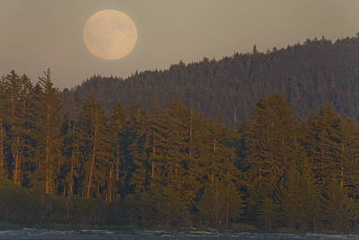 Moonrise At Sunset Along The Shores Art Print by Taylor S. Kennedy