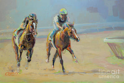 Bay Thoroughbred Horse Painting - Morning Banter by Kimberly Santini
