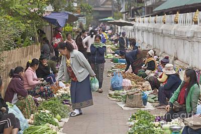 Morning Market In Luang Prabang Art Print by Roberto Morgenthaler