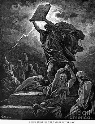 Moses Breaking The Tablets Art Print