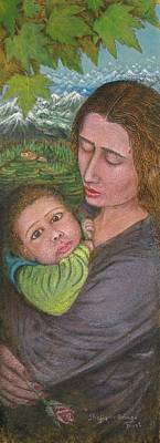 Mother And Child Print by Shafiq-ur- Rehman