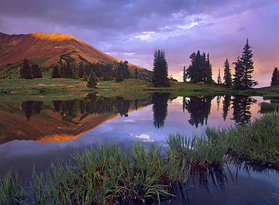 Mount Baldy Photograph - Mount Baldy At Sunset Reflected In Lake by Tim Fitzharris