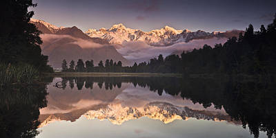 Fox Glacier Photograph - Mount Cook And Mount Tasman And Lake by Colin Monteath