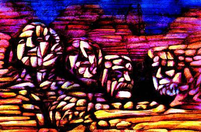 Abstract Realist Landscape Mixed Media - Mount Rushmore by Giuliano Cavallo