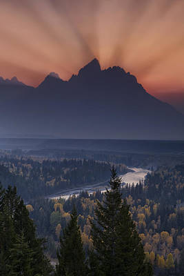 Teton Photograph - Mountain Sunset by Andrew Soundarajan