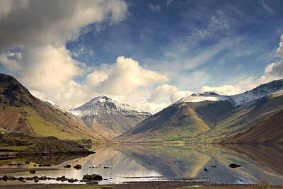 Snow-covered Landscape Photograph - Mountains And Lake At Lake District by John Short
