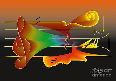 Art Print featuring the digital art Musica Nocturna by Leo Symon