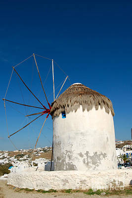 Digital Art - Mykonos Greece Windmill by Eva Kaufman