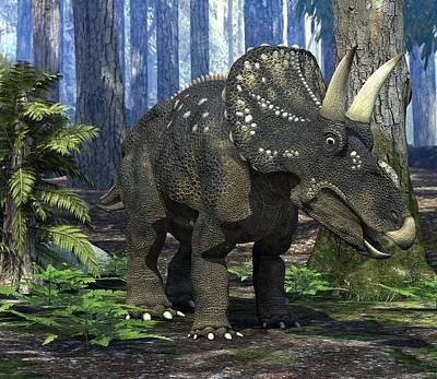 Nedoceratops Dinosaur, Artwork Art Print by Roger Harris