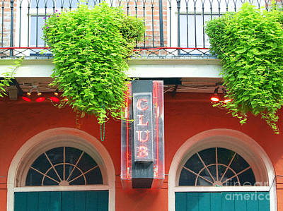 Digital Art - Neon Club Sign Bourbon Street Corner French Quarter New Orleans Film Grain Digital Art by Shawn O'Brien