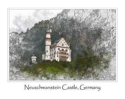 Digital Art - Neuschwanstein Castle by Brandon Bourdages