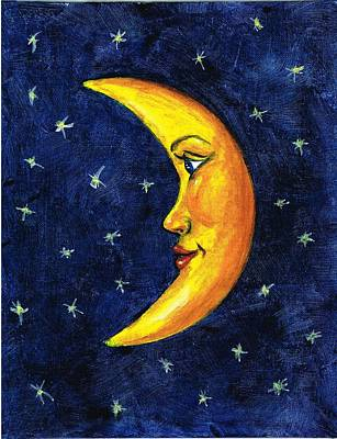 Man In The Moon Painting - New Moon by Sarah Farren