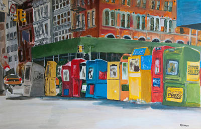 Wall Art - Painting - Newsstands by Wayne Pearce