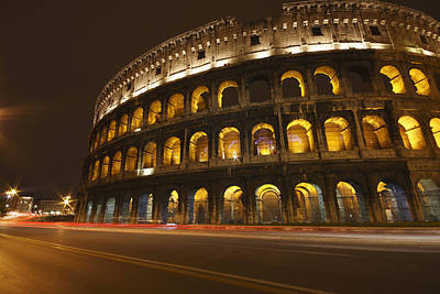 Night Lights Of The Colosseum Rome Art Print by Trish Punch