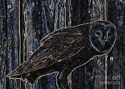 Night Owl - Digital Art Art Print by Carol Groenen
