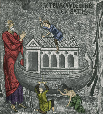 Religious Art Photograph - Noah Building The Ark by Photo Researchers