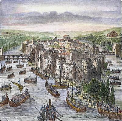 Norsemen Photograph - Norsemen In Paris, 885 A.d by Granger