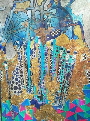 Silver Turquoise Mixed Media - Oceanic Blue by Lynda Stevens