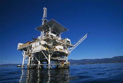 Cranes And Derricks Etc Photograph - Offshore Oil And Gas Rig In The Pacific by James Forte
