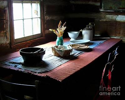 Crock Photograph - Old Cabin Table by Julie Dant