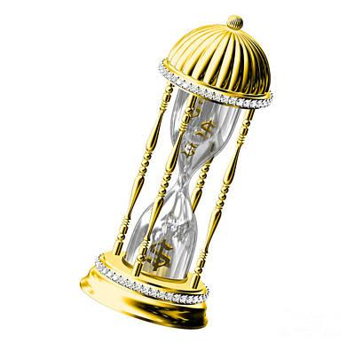 Old Gold Sand Clock Measuring Time Original
