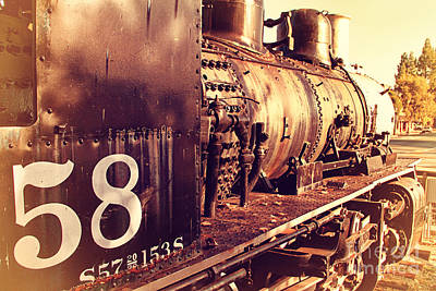 Photograph - Old Steam Locomotive Engine 1258 . 7d10467 by Wingsdomain Art and Photography