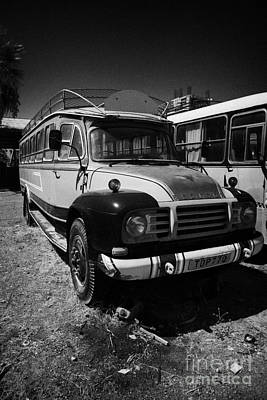 old traditional bedford bus coaches parked in Limassol lemesos republic of cyprus europe Art Print by Joe Fox