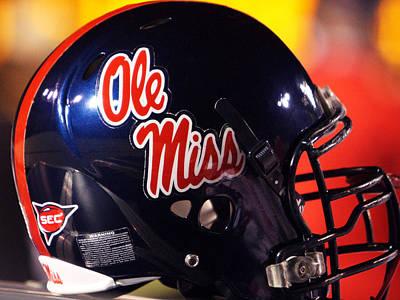 Hemingway Photograph - Ole Miss Football Helmet by University of Mississippi