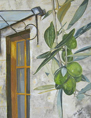 Painting - Olives In Tuscany by John Schuller