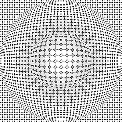 Monochromatic Digital Art - Optical Illusion Ball In Ball by Sumit Mehndiratta