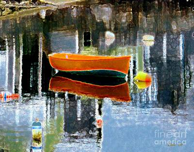 Digital Art - Orange Dinghy by Dale   Ford
