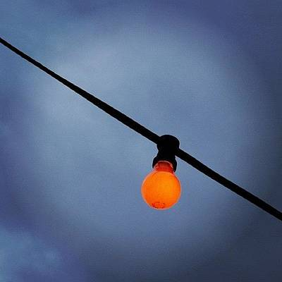 Light Photograph - Orange Light Bulb by Matthias Hauser