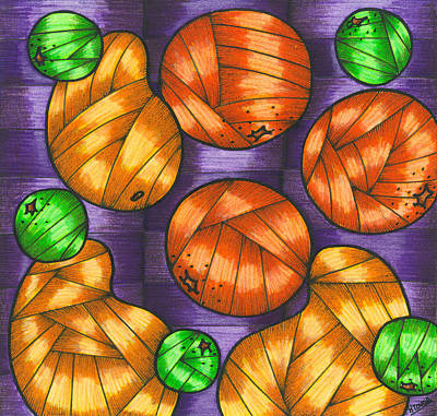 Mango Drawing - Oranges Lemons And Mangos by Hilda Tovar
