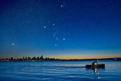Orion Over Vancouver, Canada Art Print