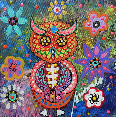 Painting - Owl Day Of The Dead by Pristine Cartera Turkus
