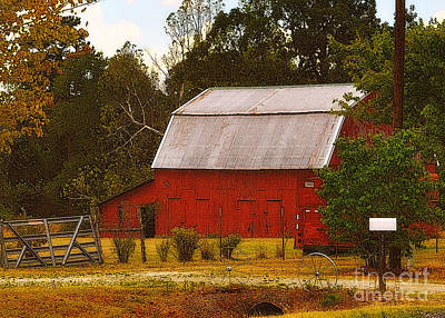 Art Print featuring the photograph Ozark Red Barn by Lydia Holly