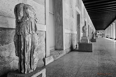Photograph - Partheon With Statue by Johnny Sandaire
