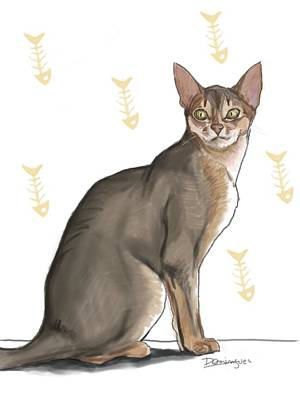 Pastel Cat Print by Mario Domingues