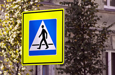 Crosswalk Photograph - Pedestrian Crossing Sign. by Fernando Barozza