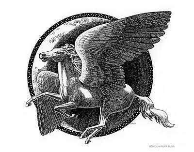 Drawing - Pegasus-black-white-drawing by Gordon Punt