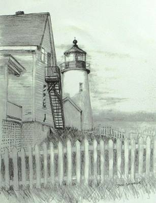 Seacoast Drawing - Pemaquid Lighthouse  by Jack Skinner