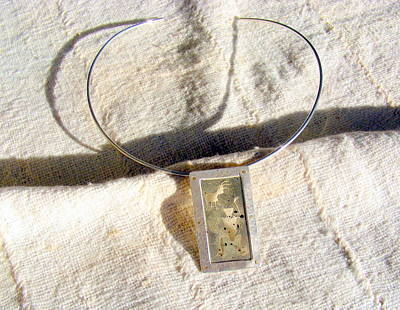 Sterling Silver Jewelry - Pendant With Arizona Indian Petroglyph by Barbara Jacquin