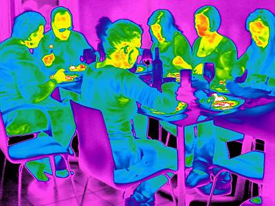 Coloured Glass Photograph - People Sitting At A Table, Thermogram by Tony Mcconnell