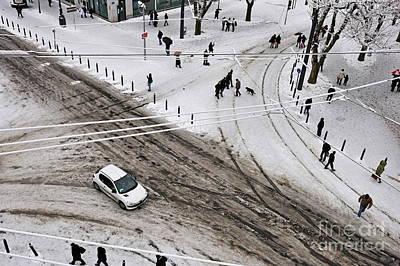 People Walking On Snow In Marseille Art Print