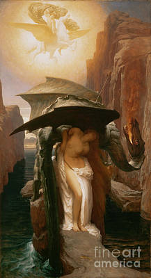 Damsel In Distress Painting - Perseus And Andromeda by Frederic Leighton