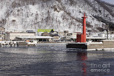 Pier Light At Fishing Port Harbor Art Print by Jeremy Woodhouse