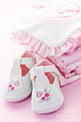 Adorable Photograph - Pink Baby Clothes For Infant Girl by Elena Elisseeva